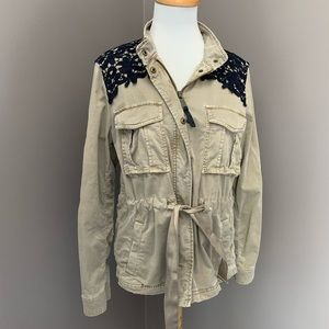 Gap Belted Military Fall Jacket With Lace Detail